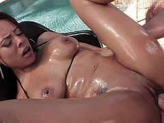 Big booty Latina dame showcase her asshole while fingering the anal before getting a deepthroat feasting and her pussy drilled hardcore outdoor