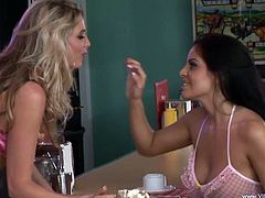 Blonde and brunette lesbian milfs in high heels with big tits enjoys carpet munching on the bar counter while fingering cunt and licking clit