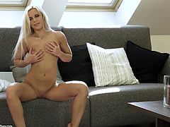 Solo Model With Long Hair Masturbating Passionately
