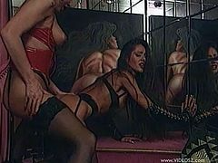 Hot cocksucking blond milf gives blowjob and gets fucked in nylons and lingerie while chick banged with strapon in leather bra