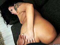 Brunette Simony Diamond finds man handsome and takes his hard ram rod in her mouth