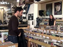 Cute German amateur girl gets her tight asshole fucked hard in a record shop by two horny guys!