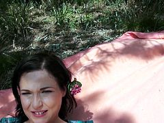 Cute brunette babe Anne Angel is out in the woods having a nice picnic with strawberries. She invited me over for some hot fun, and she said I could fuck her in the ass. I stuck my cock inside of her anus and she loved it.