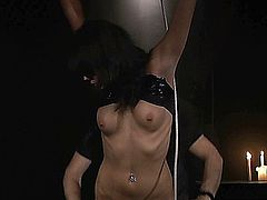 Curvy brunette slave girl tied in ropes, spanked and whipped experiences harsh treatment in bdsm.Master uses her body as a sex toy, fingers and excites her hairy pussy with vibrator then hardcore fucks her doggy style and pulling hair she suck cock until he cums in her mouth and swallow cum!