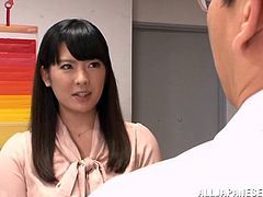 Hot Japanese bitch Azusa Ishihara meets a guy in a cafe and plays dirty games with him. Azusa lets the dude finger her coochie, after that she bends over a table and enjoys it deep from behind.
