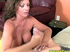 Cougar handjob lovers toying with dudes cock.