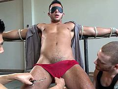 They've tied this hottie really tight and now they are playing with him. The gay sex slave is blindfolded and can't see what the guys are doing, how they literately drool for his cock and kiss it over those red panties. Soon, they take off his panties and the real fun begins. Enjoy!