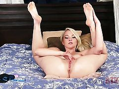 Blonde Ashley Stone satisfies her sexual needs alone in solo scene
