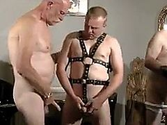 Mature and fat horny guys in leather fucking together
