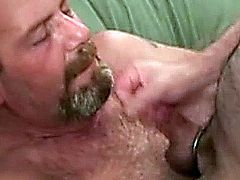 Hairy mature gets facialized after some hardcore dick sucking