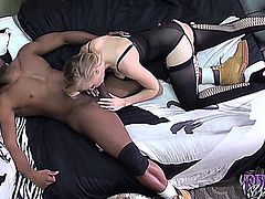 Teen takes a big black cock sucks and fucks