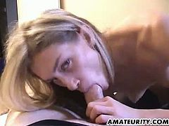 This blonde is not only sexy, but skilled too. She gives an amazing blowjob that includes deepthroating and face-fucking too. Her boyfriend cums in her mouth.