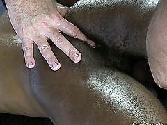 Interracial anal fingering for straight guy at his first gay massage