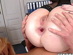 Isabella Clark gets her hot blonde office friend Ivana Sugar a special gift, some cute lingerie, and also some big cock to stick in her mouth and ass, it's a great place to work.