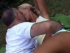 Blonde Teen get fucked anal outside