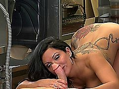 Hot babe hard fucked in the kitchen