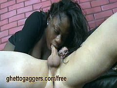Latrice has two white cocks that she needs to handle. They plunge in deep and turn a simple blowjob in an extreme throat fucking session that makes her sore.