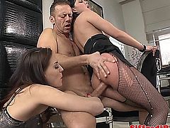 Italian stud fucking two hot babes