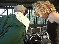 Farmers slut wife takes cock from the help!