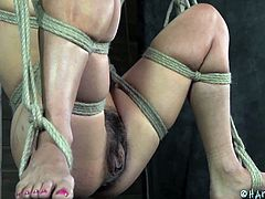 This bondage scenario with a helpless bitch kept in the basement against her will is delightful as the torture combines with lusty pleasures. Click to see the helpless brunette slut tied up strongly and wearing a mouth gag while her pussy stimulated with a vibrator. Clothes pins are also an accessory.