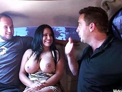 Two horny dudes feel up busty slut Sophia Lomeli in the car