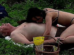 Sexy brunette teen girl Ally gets fucked by a senior outdoors