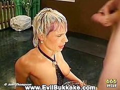 Naughty blonde girl getting dicked and jizzed by a few handsome guys