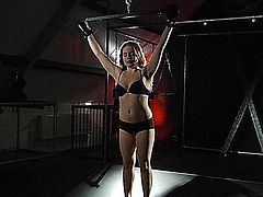 The kinky fetishist Master masturbates his obediant slavegirl Alessandra Jane after he tied her up with ropes, with the fingers and  with a vibrator. Her body is spanked and whipped!Her horny pussy is getting so wet that she begs for fucking and sucking his cock in a deepthroat and cum in mouth blowjob!