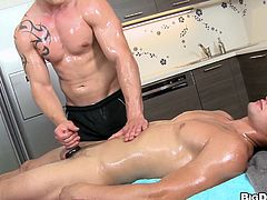 Rudy came in for a massage but our slutty masseur Paul just couldn't help himself not to have a taste of this sweet gay male. He started out by rubbing his muscled body with a lot of oil and when Rudy flipped on his back, Paul opened up and swallowed his dick. Will he receive a mouthful of cum?