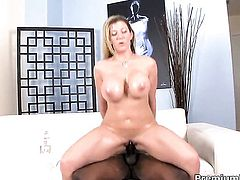 Sara Jay with juicy tits gets the hole between her long legs boned in front of the camera