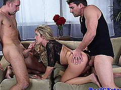 Big titted blonde girlfriend threeway fun on the couch