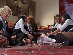 Wicked Pictures brings you a hell of a free porn video where you can see how this wild and intense lesbian orgy gets out of control as these blonde and brunette sluts munch their cunts. Marie McCray, Kelly Surfer, Jayden Lee, Leilani Leeane and Vanessa Veracruz want to be bad!