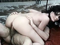 Luscious brunette MILF swallows the cum after having hardcore porn session