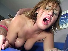 Lustful Brooke Adams with Natural Tits works on a massive cock and gives it hot blowjob before she is oiled and nailed Doggystyle