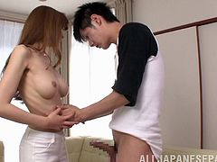 Skinny Japanese With Natural Tits chats with her neighbor she seduces him and Blowjob his cock then she is fucked hard Hardcore