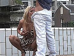 Blonde bitch get fucked on public place