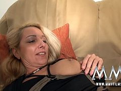A blonde woman fixes up a paying system that involves fucking. A busty milf pays her debt with her cunt and her mouth. A bald and old boss bangs her loose cunt.