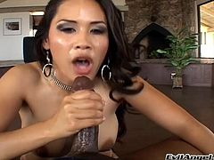 Marvelous dame with natural tits takes a closer look of massive dick before giving it blowjob till she gets a facial cumshot in an interracial sex