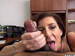 Sara Jay takes the big black cock in her mouth for a blowjob while she wants her wet pussy to get fucked hardcore.