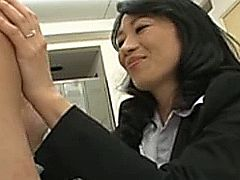 Japanese asian mommy jerking dong of her student