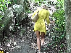 This cute blonde chick is ready to do some exploring. She heads down the hiking path and arrives at a nice river. Her guide is checking out her long sexy legs as he follows behind her. He helps her collect plant samples. will they bang in the jungle?