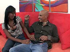 Horny ebony with natural tits in high heels gives her guy blowjob then gets her tight pussy feasted hardcore doggystyle in a reality shoot