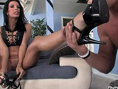 Horny brunette in high heels enjoys her sex hole being licked before fingering a tight asshole and pegging it hardcore in a femdom sex