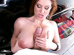 Mature Sara Stone finds her mouth filled with guys stiff cock