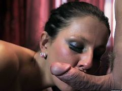 This milf has her legs spread wide open so her man can eat that beautiful pussy of hers. She is dripping wet for him. The sexy lady wants to please him now, so she wraps her mouth around his stiff cock and gives him a wonderful blowjob.