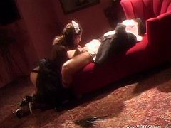 Gorgeous brunette in high heels awards her horny guy with a superb blowjob before getting her sex hole hammered hardcore doggystyle
