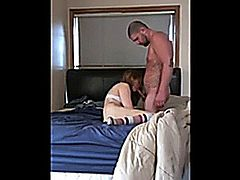 Cuckold films his girlfriend in her first bareback sex with a stranger. She first sucks his dick hard, then gets missionary fucked and gets a creampie on top.