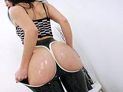 Horny Lesbians with Long Hair and Leather Outfits show their Hot Ass as they Asslick their partner and push Toy in her Asshole as she rubs her Shaved Pussy