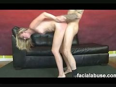 Nasty blonde teen Jolee is in for another rough sex session and this time she got face fucked a lot forcing a big white dick inside her virgin throat making her gag a lot.