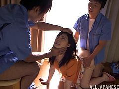 Beautiful Japanese babes gives her guy a superb blowjob while her pussy is being drilled hardcore doggystyle in a threesome sex